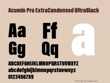 Acumin Pro ExtraCondensed UltraBlack Version 1.011 Font Sample