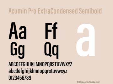 Acumin Pro ExtraCondensed Semibold Version 1.011 Font Sample