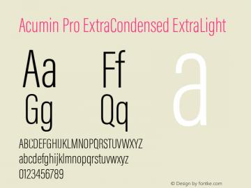 Acumin Pro ExtraCondensed ExtraLight Version 1.011 Font Sample