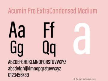 Acumin Pro ExtraCondensed Medium Version 1.011 Font Sample