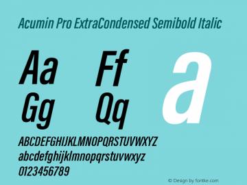 Acumin Pro ExtraCondensed Semibold Italic Version 1.011 Font Sample