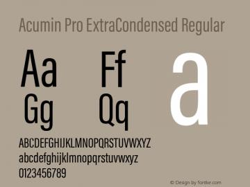 Acumin Pro ExtraCondensed Regular Version 1.011 Font Sample
