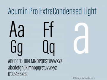 Acumin Pro ExtraCondensed Light Version 1.011 Font Sample