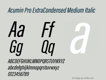Acumin Pro ExtraCondensed Medium Italic Version 1.011 Font Sample