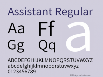 Assistant Regular Version 2.001 Font Sample