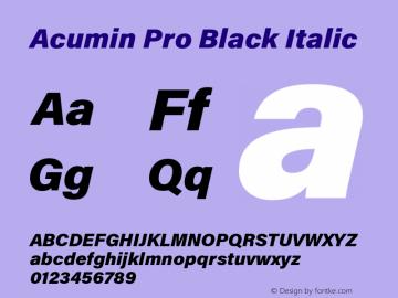 Acumin Pro Black Italic Version 1.011 Font Sample