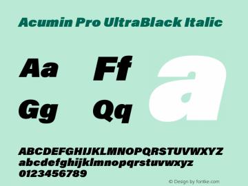 Acumin Pro UltraBlack Italic Version 1.011 Font Sample