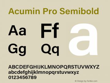 Acumin Pro Semibold Version 1.011 Font Sample