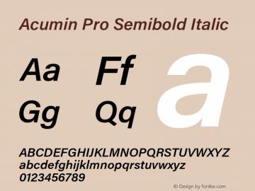 Acumin Pro Semibold Italic Version 1.011 Font Sample