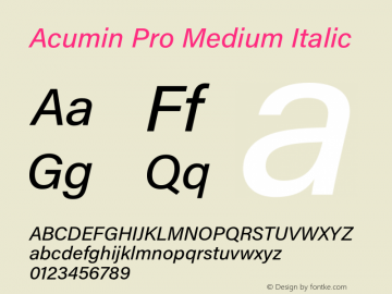 Acumin Pro Medium Italic Version 1.011 Font Sample