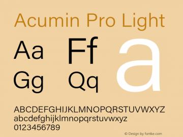 Acumin Pro Light Version 1.011 Font Sample
