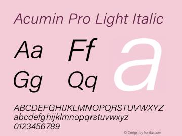 Acumin Pro Light Italic Version 1.011 Font Sample