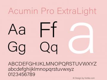 Acumin Pro ExtraLight Version 1.011 Font Sample