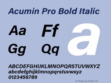 Acumin Pro Bold Italic Version 1.011 Font Sample