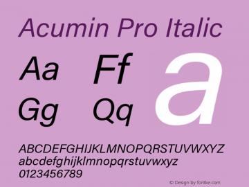 Acumin Pro Italic Version 1.011 Font Sample