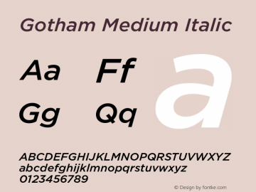 Gotham Medium Italic Version 1.200图片样张