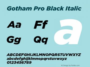 Gotham Pro Black Italic Version 1.100; Cyrillic Support Font Sample