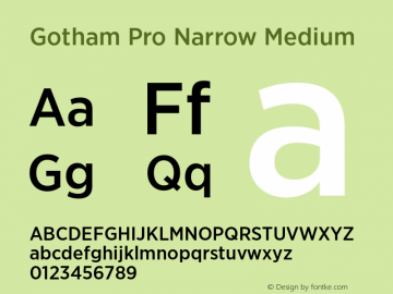 Gotham Pro Narrow Medium Version 1.100; Cyrillic Support Font Sample