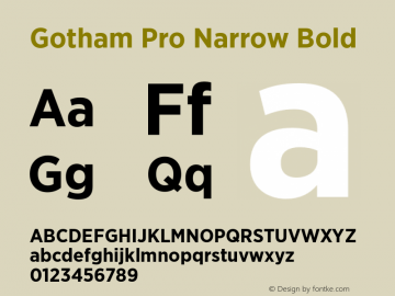 Gotham Pro Narrow Bold Version 1.100; Cyrillic Support Font Sample