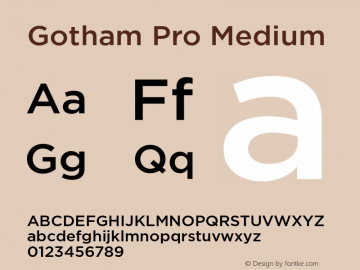 Gotham Pro Medium Version 1.100; Cyrillic Support Font Sample