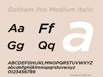 Gotham Pro Medium Italic Version 1.100; Cyrillic Support Font Sample