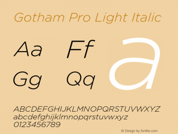 Gotham Pro Light Italic Version 1.100; Cyrillic Support Font Sample
