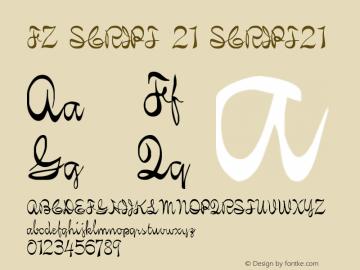 FZ SCRIPT 21 SCRIPT21 Version 1.000 Font Sample