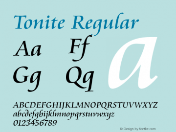 Tonite Regular 1.0 Font Sample