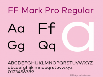 FF Mark Pro Regular Version 7.504; 2013; Build 1024图片样张