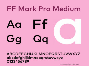 FF Mark Pro Medium Version 7.504; 2013; Build 1024 Font Sample