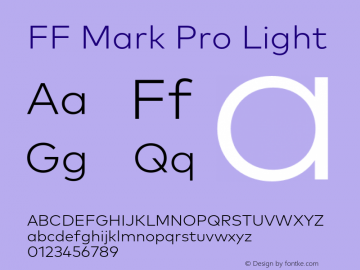 FF Mark Pro Light Version 7.504; 2013; Build 1024 Font Sample