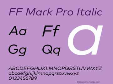 FF Mark Pro Italic Version 7.504; 2013; Build 1024 Font Sample