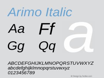 Arimo Italic Version 1.32 Font Sample