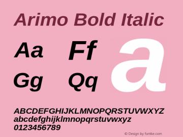 Arimo Bold Italic Version 1.32 Font Sample