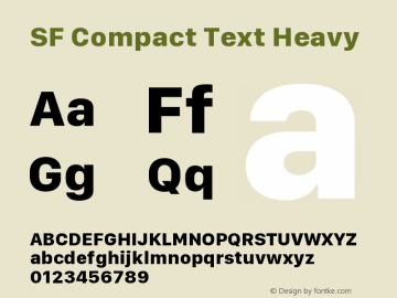 SF Compact Text Heavy 11.0d10e2 Font Sample