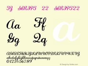 FZ SCRIPT 22 SCRIPT22 Version 1.000 Font Sample