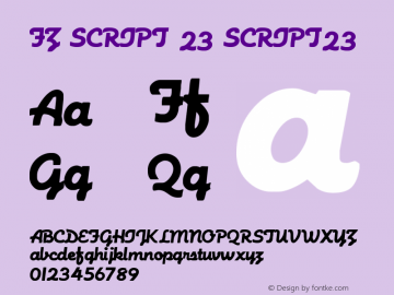 FZ SCRIPT 23 SCRIPT23 Version 1.000 Font Sample