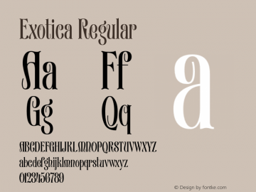 Exotica Regular Version 1.000 2016 initial release Font Sample