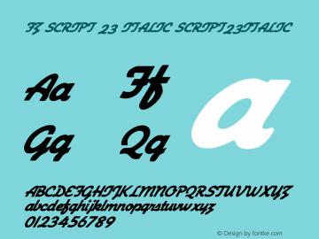 FZ SCRIPT 23 ITALIC SCRIPT23ITALIC Version 1.000 Font Sample