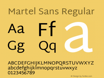 Martel Sans Regular Version 1.001; ttfautohint (v1.1) -l 5 -r 5 -G 72 -x 0 -D latn -f none -w gGD -W -c Font Sample