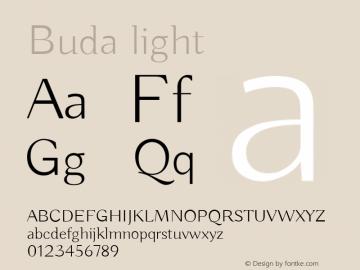 Buda light Version 1.002 Font Sample