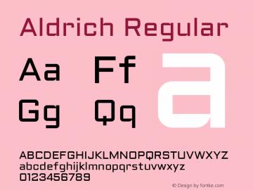 Aldrich Regular Version 1.001 2011 Font Sample