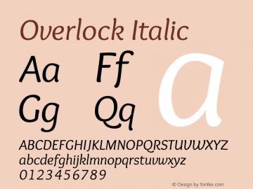 Overlock Italic Version 1.001 Font Sample
