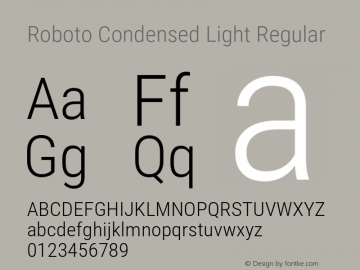 Roboto Condensed Light Regular Version 2.001240; 2014图片样张