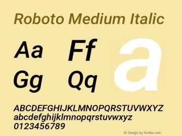 Roboto Medium Italic Version 2.001152; 2014图片样张
