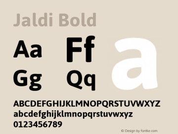 Jaldi Bold Version 1.007 Font Sample