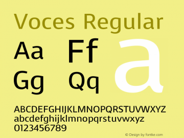 Voces Regular Version 1.003 Font Sample