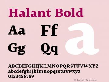 Halant Bold Version 1.100;PS 1.0;hotconv 1.0.78;makeotf.lib2.5.61930; ttfautohint (v1.1) -l 8 -r 50 -G 200 -x 14 -D latn -f deva -w gGD -W -c Font Sample