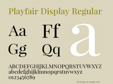 Playfair Display Regular Version 1.004;PS 001.004;hotconv 1.0.70;makeotf.lib2.5.58329; ttfautohint (v0.96) -l 42 -r 42 -G 200 -x 14 -w