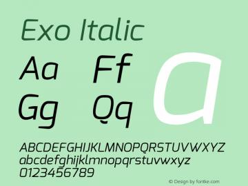 Exo Italic Version 1.00 Font Sample